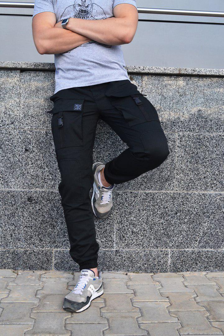 9494476158a Мужские карго штаны черные Bane ( много функциональных карманов) с манжетами  внизу