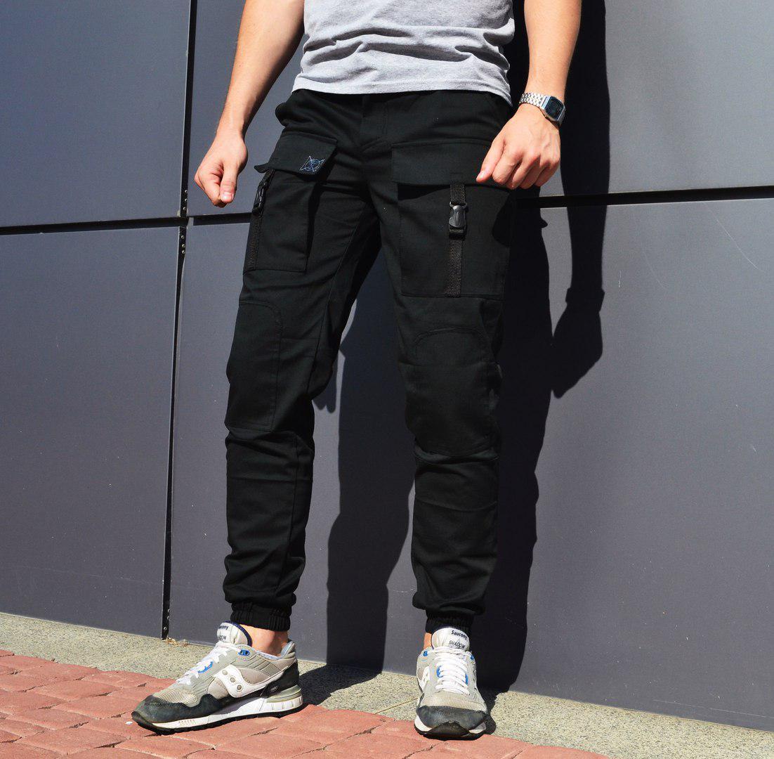 3729c5ae08b ... Мужские карго штаны черные Bane ( много функциональных карманов) с манжетами  внизу