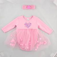 Боди-юбка с пампонами и повязкой на голову розовый, на рост - 62, 68, 74, 80 см. (арт:9-45н)
