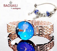 часы Baosaili баосали изумруд синие голубые наручные кварцевые Стильные женские