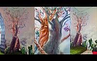 Декоративная роспись детской комнаты с применением барельефа (Обнимающиеся деревья)