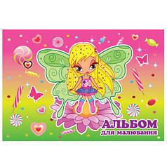 Альбом для рисования для девочек 20 л. обложка цветная, мелованный  картон, блок офсет 110 г/м2, микс