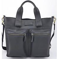 Кожаная мужская сумка Vatto черная crazy