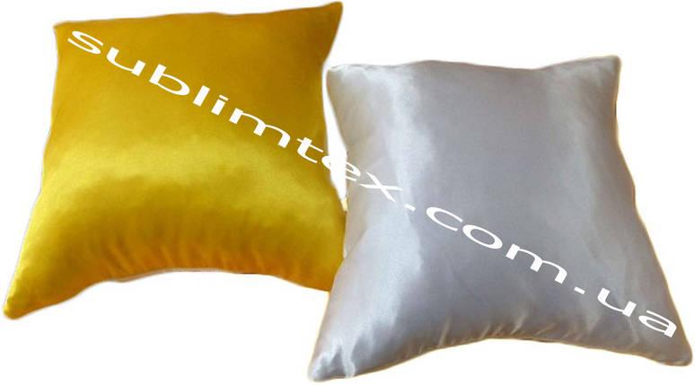 Подушка атласная,искусственный наполнитель, цветная сторона, размер 35х35см., Белый/Желтый, фото 2