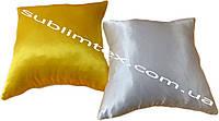 Подушка атласная,искусственный наполнитель, цветная сторона, размер 35х35см., Белый/Желтый