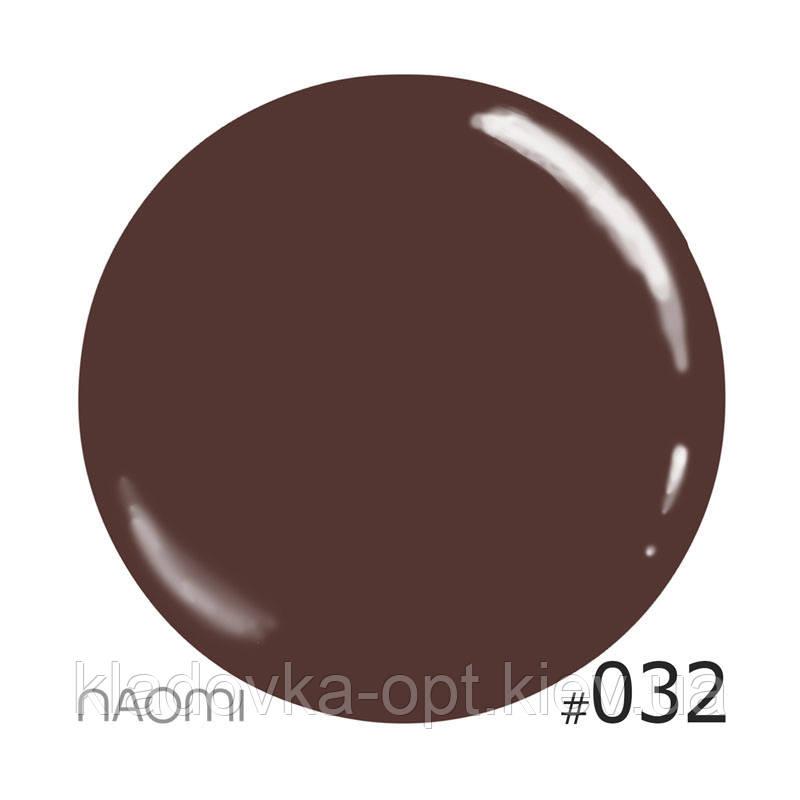 Декоративный лак Naomi 032 (шоколадный с розовым микроблеском), 12 мл