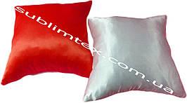 Подушка атласная,натуральный наполнитель, цветная сторона, размер 35х35см., Белый/Красный
