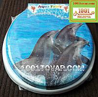 """Адаптер-сиденье мягкое с крышкой для унитаза Aqua Fairy """"Три дельфина"""""""