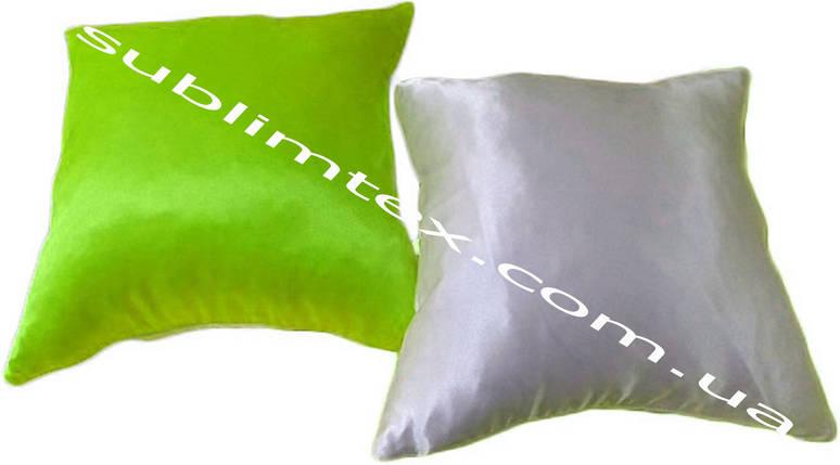Подушка атласная,натуральный наполнитель, цветная сторона, размер 35х35см., Белый/Салатовый, фото 2