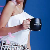 """Подарок кофеману Чашка """"Strong Coffeeling"""" черная матовая"""