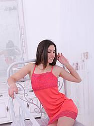 Женская ночная сорочка с кружевом из вискозы