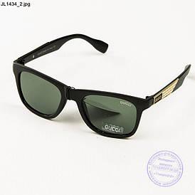 Чоловічі сонцезахисні окуляри Gucci (репліка) - Чорні - JL1434
