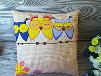 Подушка три совы (1 желтая сова) , 29 см * 29 см
