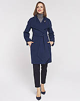 Женское пальто Леди, на пояске 42 -52 рр синее