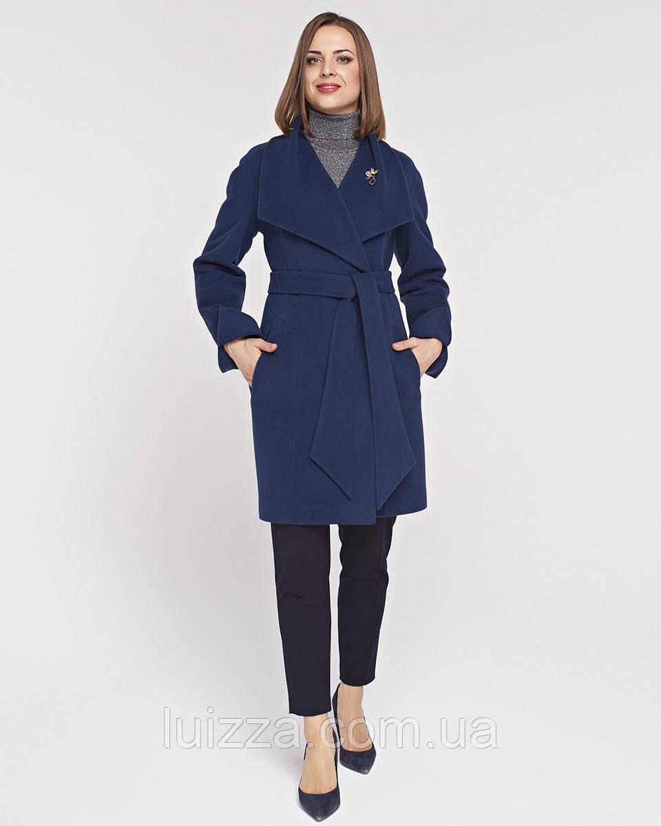 Женское пальто Леди, на пояске 42 -52 рр синее 42