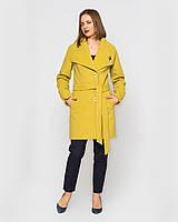 Женское пальто Леди, на пояске 42 -52 рр горчица