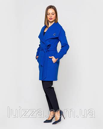 Женское пальто Леди, на пояске 42 -52 рр электрик 46, фото 2