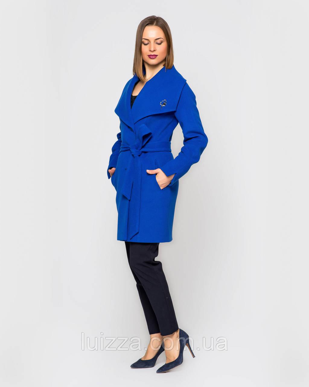 Женское пальто Леди, на пояске 42 -52 рр электрик 44