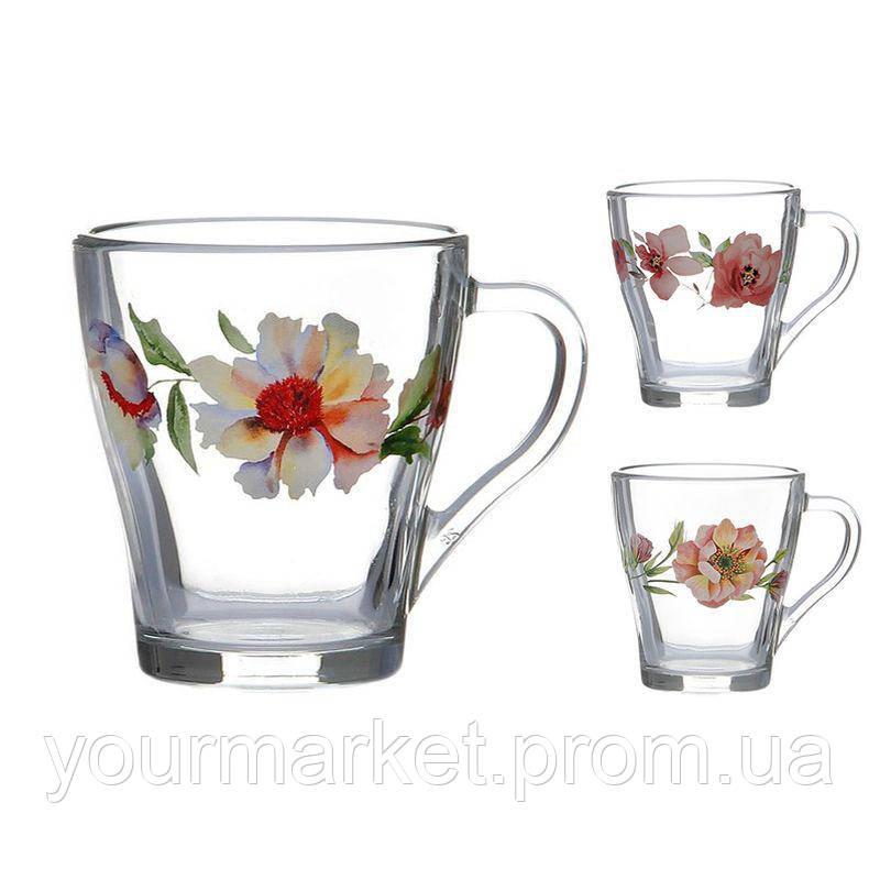 80003616, Чашка стеклянная Грация Цветы Акварель микс 250 мл