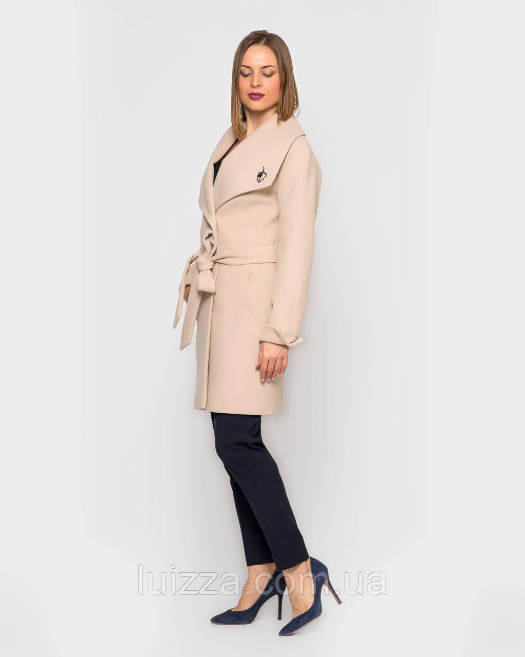 Женское пальто Леди, на пояске 42 -52 рр беж 46