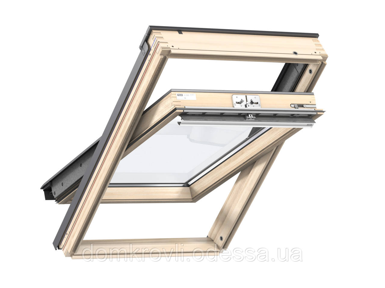 Мансардное окно (78х160см) GZL 1051 ручка сверху/снизу . Дерево