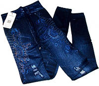 Лосины джинс на меху со стразами №514 размер 40-44