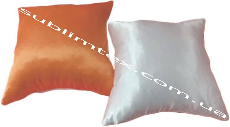 Подушка атласная,искусственный наполнитель, цветная сторона, размер 35х35см., Белый/Персиковый, фото 2