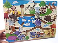 """Деревянная игра для самых маленьких """"Лабиринт  Зоопарк"""""""