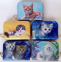 Детские кошельки на молнии для девочек с котятами 12,5*9*2 см