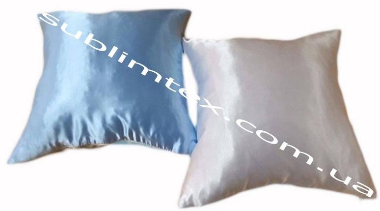 Подушка атласная,натуральный наполнитель, цветная сторона, размер 35х35см., Белый/Голубой, фото 2