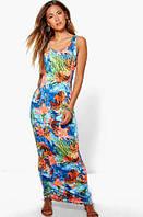 Платье Синего Цвета Яркое Нарядное С Цветами Boohoo оригинал, Размер S/M