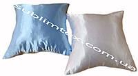 Подушка атласная,искусственный наполнитель, цветная сторона, размер 35х35см., Белый/Голубой