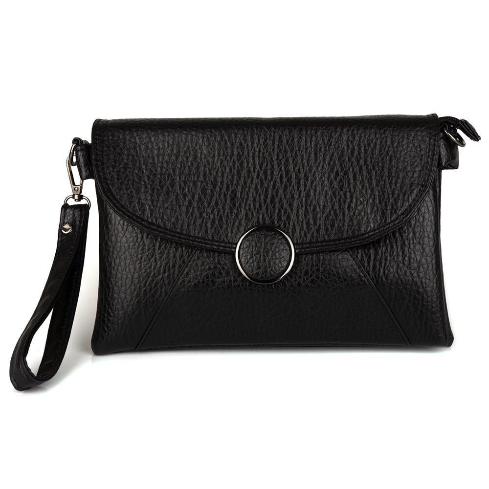 """Черная женская сумочка клатч """"Кнопка"""" (Bagira 861)"""