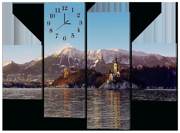 Модульная картина с часами Горы.Замок.Зима