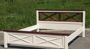 Кровать двуспальная из массива сосны  Нормандия Микс мебель, цвет  ваниль + темный орех, фото 2