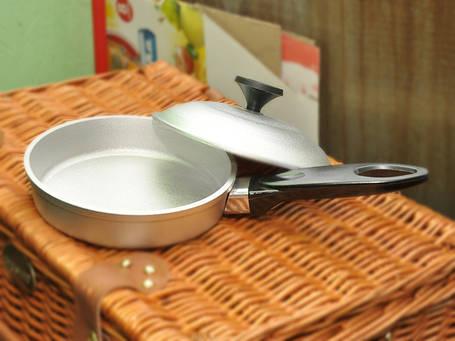 Сковорода алюминий 245мм с крышкой, фото 2
