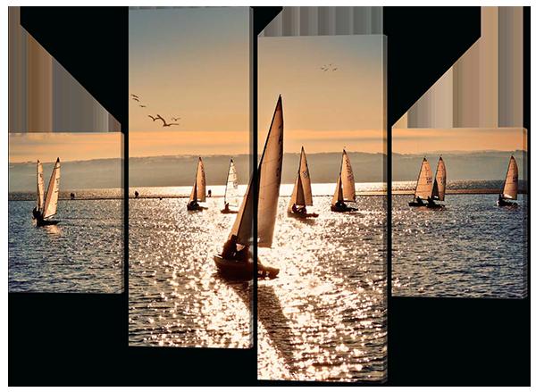 Картина модульная Парусники и море