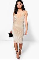 Бежевое Вечернее Платье с Открытой Спиной На Свадьбу Boohoo, размер S