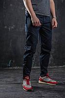 Мужские карго брюки ТУР  Hide темно-синие c функциональными карманами, заужены к низу