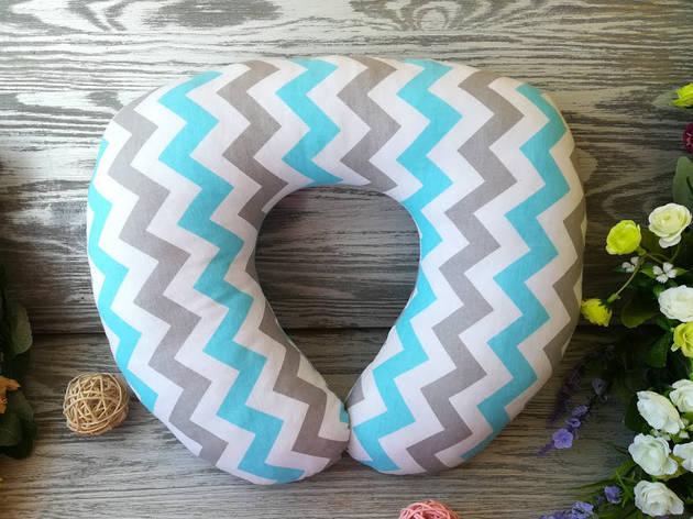 Автомобильная подушка зигзаг бирюзовый , 41 см * 34 см , фото 2