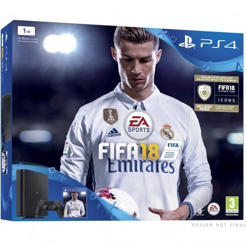 Игровая приставка ps4 Playstation 4 Slim 1000 GB + FIFA 18