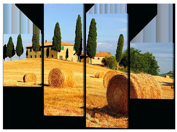 Модульная картина Пейзаж в Италии Стога сена