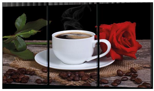 Модульная картина Кофе и роза