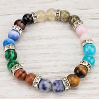 💖 Браслет из натурального разных камней (8 мм) на резинке (Есть все размеры!*)