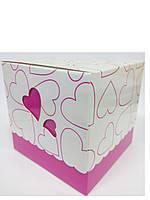 Упаковочная коробочка из картона с крышкой розовая с принтом