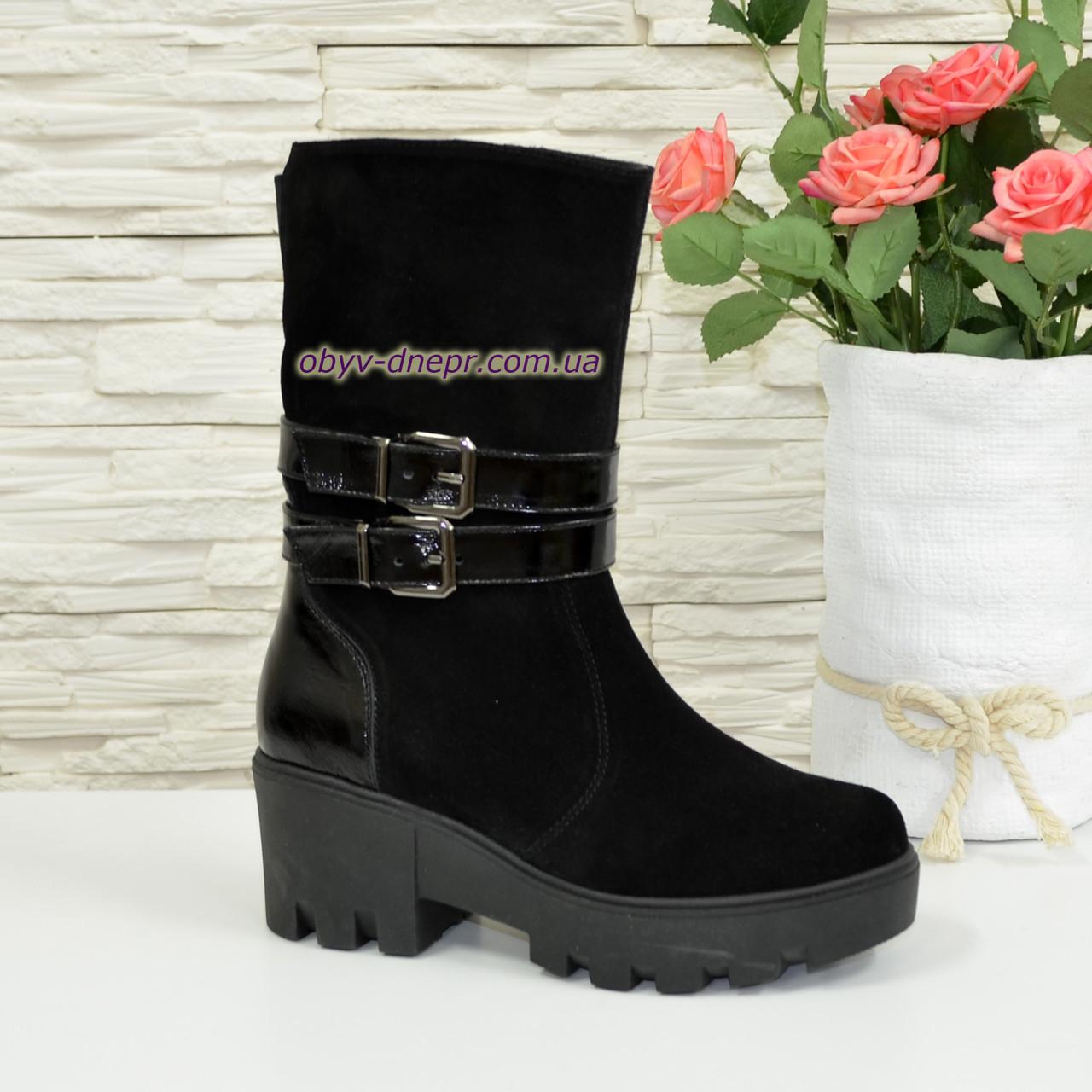 Ботинки женские зимние на утолщенной подошве, натуральная замша/лак