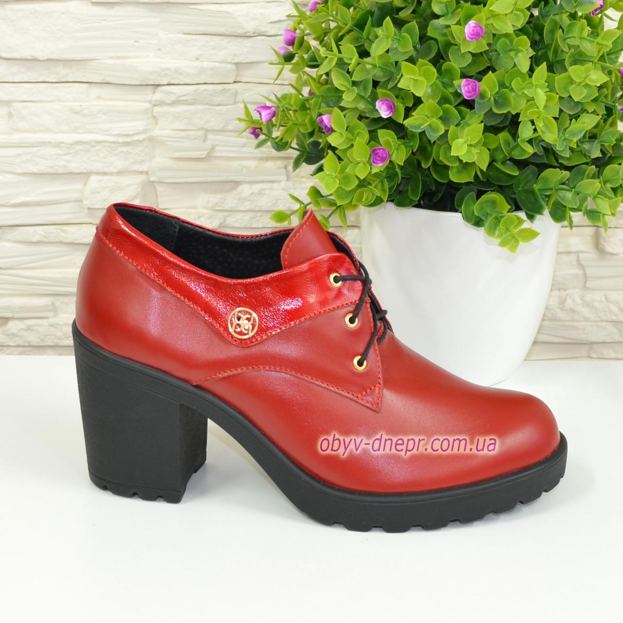 Туфли женские кожаные красные на шнуровке, фото 1
