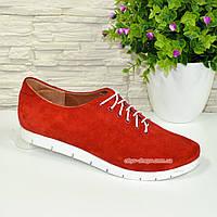 Женские туфли на утолщенной белой подошве, на шнуровке, натуральная красная замша, фото 1