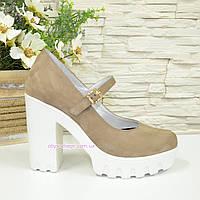 Женские туфли на высоком каблуке, бежевая кожа нубук, фото 1