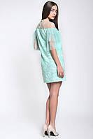 Красивое коктейльное женское платье из вышитой сетки, фото 2
